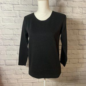 Womens Black 3/4 Sleeve Ribbed Top size Small